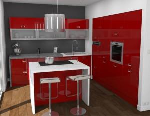 Une cuisine moderne avec un ilot central communique ilak for Cuisine rouge avec ilot central